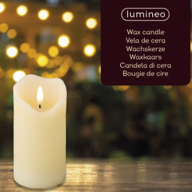 Lumineo LED Real Wax Candle 3D Flame, warm white, 13cm, 6h timer, battery operated