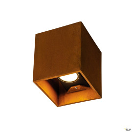 SLV LED Wall Light RUSTY UP/DOWN, 3000/4000K, square, rusty brown, IP65