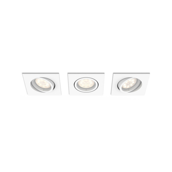 Philips myLiving LED-Einbauspot eckig Shellbark 3er Set, WarmGlow, weiß