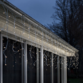 Konstsmide LED Ice Rain Light curtain warm white, 240 LEDs, with Light Sensor, Timer, Battery Operated, IP44