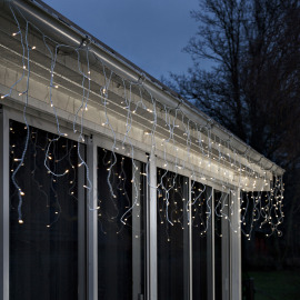 Konstsmide LED Ice Rain Light curtain warm white, 80 LEDs, with Light Sensor, Timer, Battery Operated, IP44
