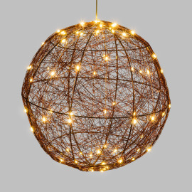 Lotti LED Ball, 160 warm white LEDs, Copper-coloured Metal Frame