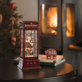 Konstsmide LED Snow Lantern Phone Booth with Santa Claus
