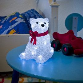 Konstsmide LED ALED Acryl polar bear, sitting with red ribbon