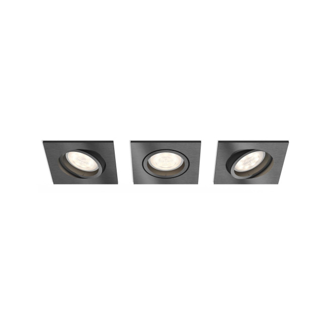 Philips myLiving LED Recessed Spot square Shellbark Set of 3, WarmGlow, anthracite