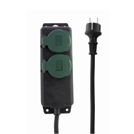 REV Outdoor Multiple Socket Outlet, 2-fold, 1.4m, green-grey, IP44