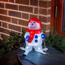 LED Snowman with Ski, 24 coldwhite LEDs