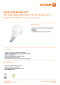 Data sheet Osram LED STAR+ Double Click DIM CLP 40 5,5W E14 2700K