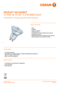 Data sheet Osram LED STAR PAR16 35 3,3W 840 GU10