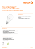 Data sheet Osram LED STAR+ Double Click DIM CLA 60 9W E27 2700K