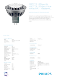 Data sheet Philips MASTER LEDspot 7-35W 840 GU5.3 36° DIM