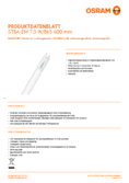 Data sheet Osram SubstiTube Advanced 7,3W 600mm 865 EM T8