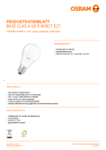 Hersteller Datenblatt Osram LED BASE CLA60 9W 827 FR E27 3er-Pack