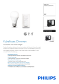 Spécifications Philips Hue LED E27 Wireless Dimming Kit blanc chaude 8,5W
