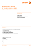 Data sheet Osram LED STAR RETROFIT frosted CLA 40 4W 840 E27 non dim
