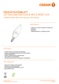 Spécifications Osram LED STAR+ Double Click DIM CLB 40 5W E14 2700K