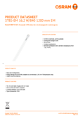 Data sheet Osram SubstiTube Star T8 1200mm 16,2W 840 EM