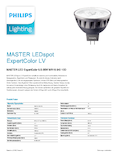 Data sheet Philips MASTER LEDspot ExpertColor 6,5-35W MR16 940 10° DIM