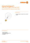 Data sheet Osram VINTAGE 1906 Halogen Lamp Globe 20W E27 dim