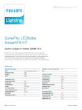 Data sheet Philips CorePro LEDtube 1500mm 20W 865 2000lm G13 InstantFit EVG