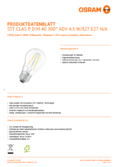 Data sheet Osram LED SUPERSTAR FILAMENT klar DIM CLP 40 4,5W 827 E27