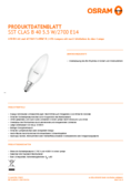 Data sheet Osram LED STAR+ CLB 40 FR 5W E14 4000K + 2700K