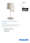 Spécifications Philips myliving Donne Lampe de Table 40W