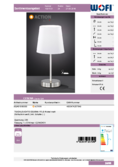 Data sheet WOFI table lamp CESENA white