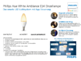 Hersteller Datenblatt Philips Hue LED E14 White Ambiance 6W