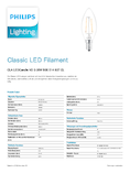 Data sheet Philips Classic LEDcandle 2-25W E14 827 B35 klar