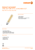 Data sheet Osram LED VINTAGE 1906 CL Tubular GOLD 40 2,8W 824 E27 non-dim