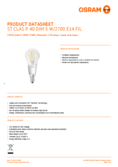 Data sheet Osram LED RETROFIT DIM P40 5W E14 clear