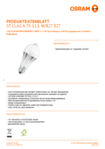Data sheet Osram LED STAR+ CLA 75 MSFR non-dim 11,5W 827 E27