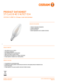 Data sheet Osram LED STAR+ CLB 40 CRI90 frosted non-dim  5W 927 E14
