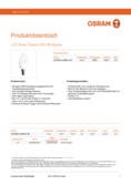 Spécifications Osram LED BASE CLB40 5,3W 827 FR E14