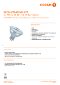 Hersteller Datenblatt Osram LED STAR MR16 (GU5.3) 35 36° 5W 827