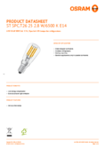 Data sheet Osram LED STAR SPECIAL T26 25 claire non-dim 2,8W 865 E14