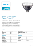 Data sheet Philips MASTER LEDspot ExpertColor 6,5-35W MR16 927 10° DIM