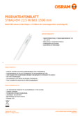 Data sheet Osram SubstiTube Advanced UO 24W 1500mm 865 EM T8