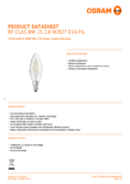 Data sheet Osram LED RETROFIT CLASSIC BW 20 2,8W 827 E14 CL