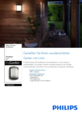 Data sheet Philips myGarden wall lamp Antelope 6W black