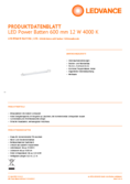 Hersteller Datenblatt LEDVANCE LED Power Batten 0.6 12W 840