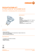 Spécifications Osram LED STAR PAR16 80 6,9W 840 GU10