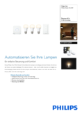 Data sheet Philips Hue White LED E27 set of 3 starter set 9,5W with dimmer switch