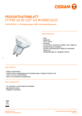 Spécifications Osram LED STAR PAR16 120° 50 4.3W 840 GU10