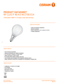 Data sheet Osram LED RETROFIT P40 4,5W E14 frosted non dim