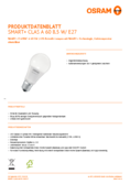 Data sheet Osram Smart+ CLAS A60 E27 TW