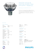 Data sheet Philips MASTER LEDspot 8-50W 840 GU5.3 MR16 24° DIM