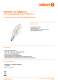 Data sheet Osram LED RETROFIT BW40 4W E14 clear non dim