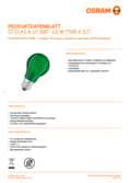 Hersteller Datenblatt Osram LED SUPERSTAR CLA 15 DécorGreen non-dim  4W 827